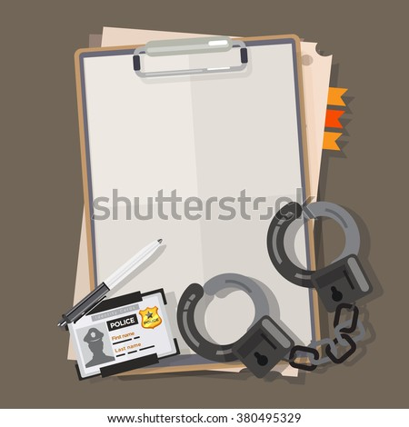 Police report paper with handcuffs. police badge and pen - vector illustration - stock vector