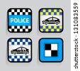 Police - set stickers square on the gray background, vector illustration 10eps - stock vector