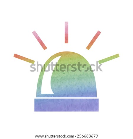 Police single black icon isolated. Vector. Watercolor effect - stock vector