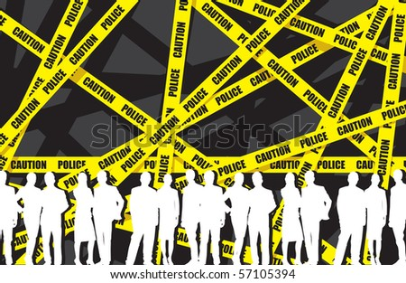 police tape with a people background