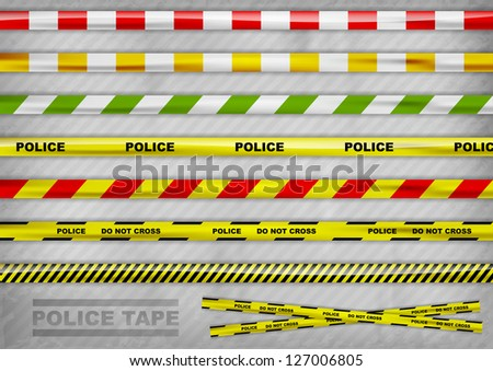 police tapes in the various colur - stock vector