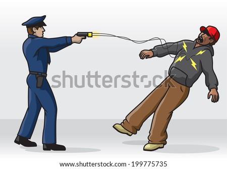 Police Tasing - stock vector