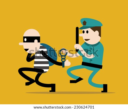police trying to catch a criminal. flat character design. vector illustration - stock vector