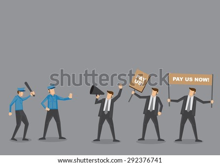 Police trying to control angry employees on protest to demand for wages. Cartoon vector illustration concept for social issues isolated on grey background.  - stock vector