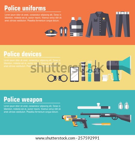police uniform and set protection staff equipment in the closet office. On flat style  banners concept. Vector illustration for colorful template for you infographic, web and mobile applications - stock vector