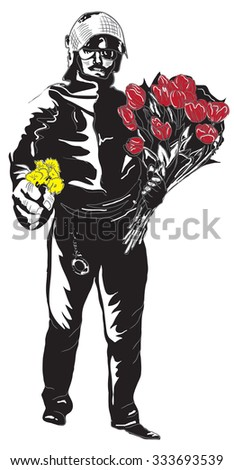 Policeman, Cop with flowers in his hands. Gentle Hero. An hand drawn vector illustration, Freehand drawing, no tracing. Vector drawing in a classical comic style. - stock vector