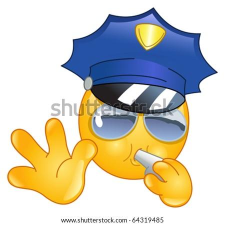 Policeman emoticon - stock vector