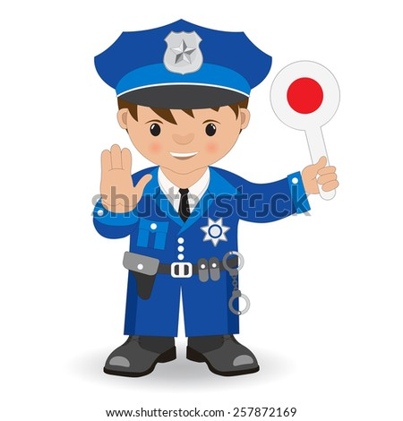 policeman hand with rod - stock vector