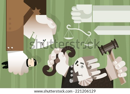 Policeman holds a criminal, Judge looks upwards at the scales of justice ready to give a judgment. - stock vector