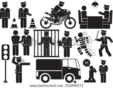 policeman icon set - stock vector