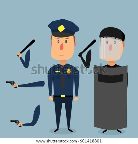 Policeman in uniform, a policeman with a shield and helmet. Pack of body parts and equipment. Vector illustration in flat style