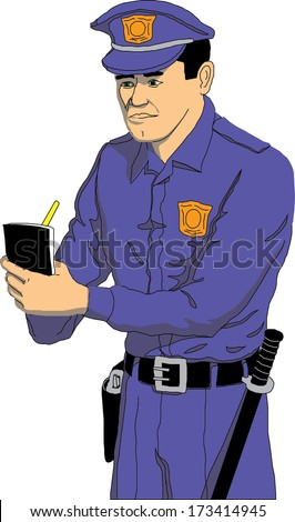 Policeman in uniform writing a ticket  - stock vector