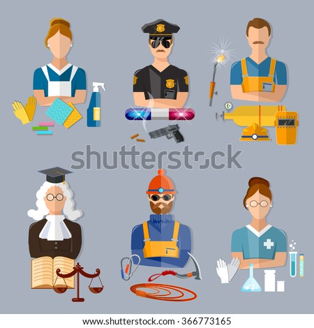 Policeman judge welder pharmacist climber housewife collection professions vector illustration