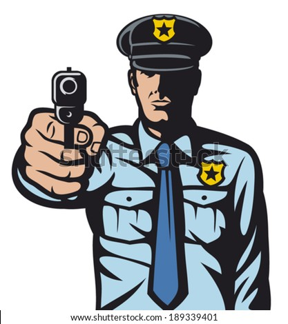 policeman pointing a gun (policeman shoots, police officer is making stop sign with hand, hand with gun, gun pointed, policeman aiming gun at you, police officer pointing his gun)      - stock vector