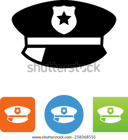 Policeman's hat symbol for download. Vector icons for video, mobile apps, Web sites and print projects.  - stock vector