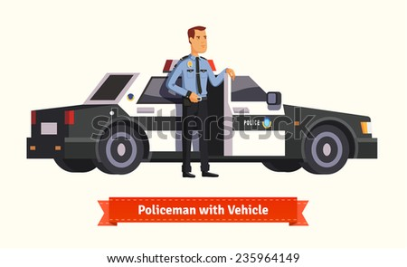 Policeman standing in front of his car. Opened with money inside. Flat style illustration. EPS 10 vector.  - stock vector
