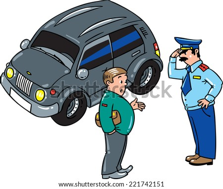 Policeman stopped the car, salutes and talking with the driver on the road. - stock vector