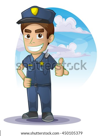 policeman with separated layers for game and animation, game design asset