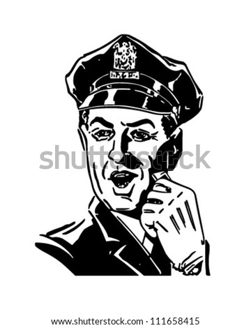 Policeman With Whistle - Retro Clipart Illustration - stock vector