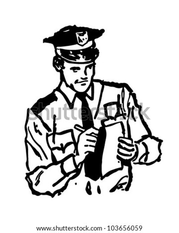 Policeman Writing Ticket - Retro Clipart Illustration - stock vector