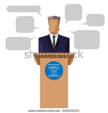 policies behind the podium - stock vector