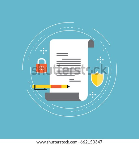 policy insurance signing contract confidential document stock  policy insurance signing contract confidential document certificate diploma flat vector illustration design