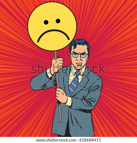 Policy protester poster sad emoticon - stock vector