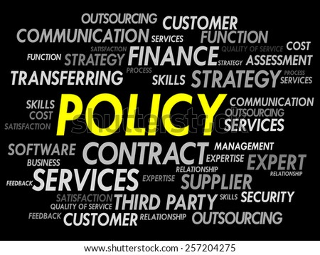 POLICY word cloud, business concept - stock vector