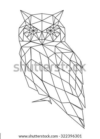 poligonal owl - stock vector