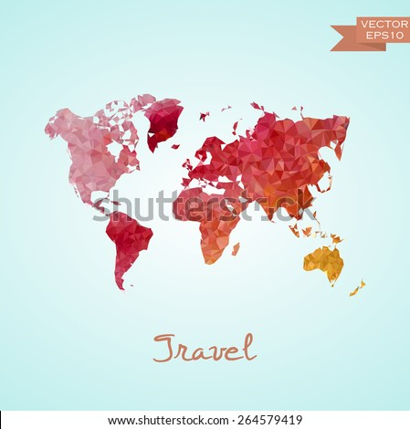 Poligonal world map isolated on background. Vector version. - stock vector