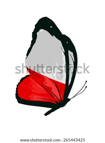 Polish flag butterfly - vector - stock vector