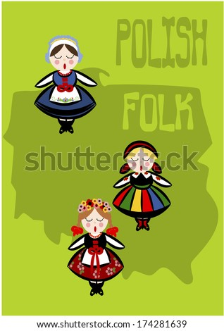 Polish folk - country shape. Vector illustration. - stock vector