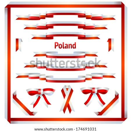 Polish ribbons, bows and borders in vector isolated on white background. - stock vector