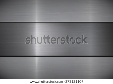Polished stainless steel texture background. Rectangle metal plate. Vector EPS 10. - stock vector