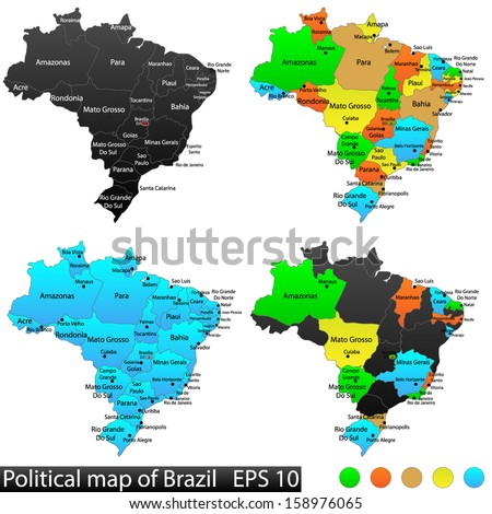 Political and location map of Brazil. Versatile file, every piece is selectable and editable in layers panel. Turn on and off visibility of every province in one click. Vector, eps 10.
