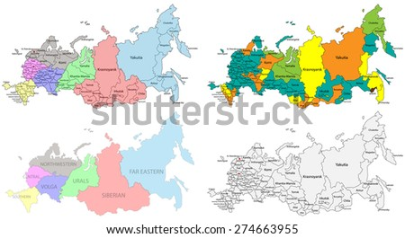 Political and regional map of Russia. Versatile file, every piece is labeled and selectable in layers panel.