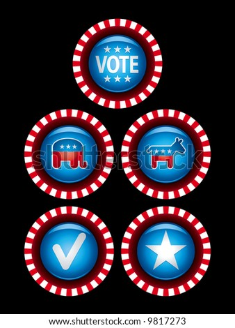 Political campaign badges and buttons. - stock vector