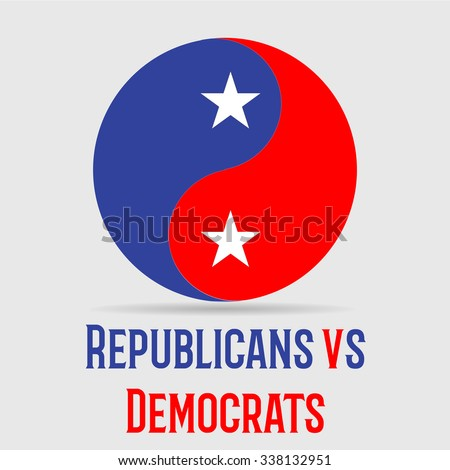 Political circle with colors of republicans and democrates  - stock vector