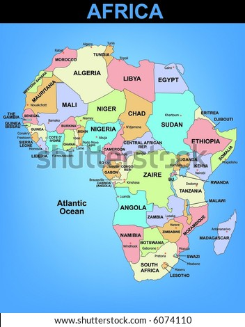 Political illustrated map of Africa - stock vector