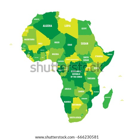 Political Map Africa Four Shades Green Stock Photo Photo Vector