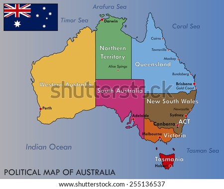 Political Map Australia Stock Vector Shutterstock - Political map of australia