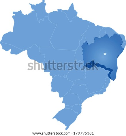 Political map of Brazil with all states where Bahia is pulled out