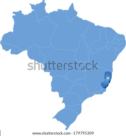 Political map of Brazil with all states where Espirito Santo is pulled out