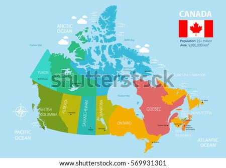 political map of canada regions and provinces highly detailed vector illustration flag of