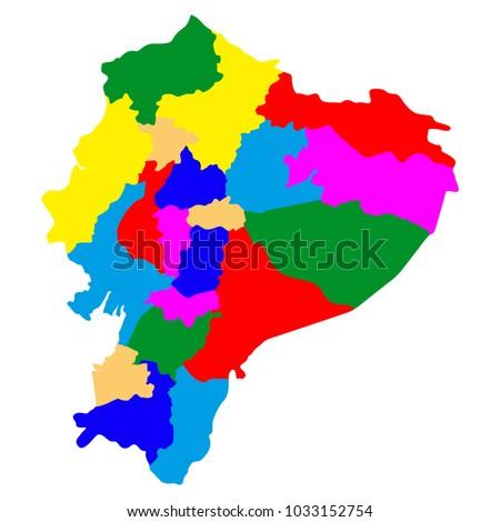 Political Map Ecuador Stock Vector 1033152754 Shutterstock