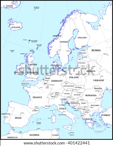 Political map of Europe - stock vector