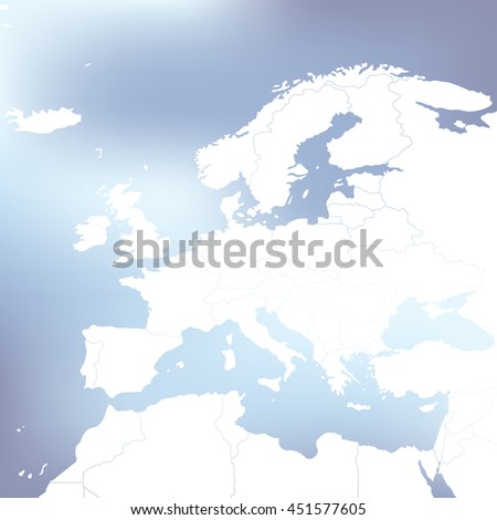 Political Map Of Europe. Abstract blurred background. Vector Illustration - stock vector