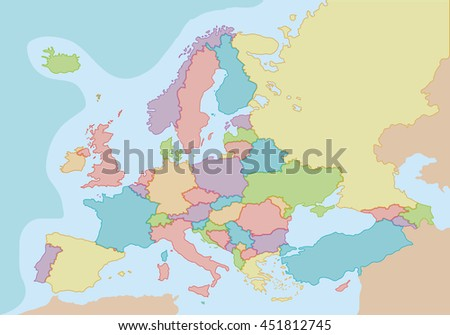 Political map of Europe with colors and borders for each country. Vector illustration.