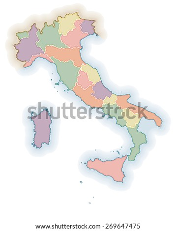 Political map of Italy. One layer for each region - stock vector
