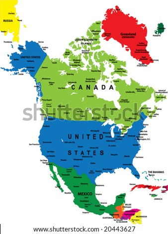 Political map of North America - stock vector